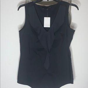 Harvé Bernard Black ruffled sleeves top